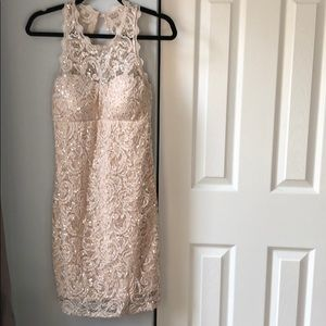 Sequin Hearts Taupe Sequined Dress - 11